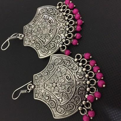 German Silver Pink Beads loop earrings