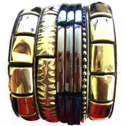 Junk Bangles (Multi color Golden)