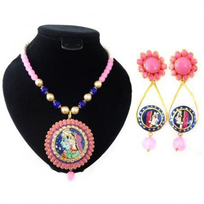 Tanjore art pink pachi necklace