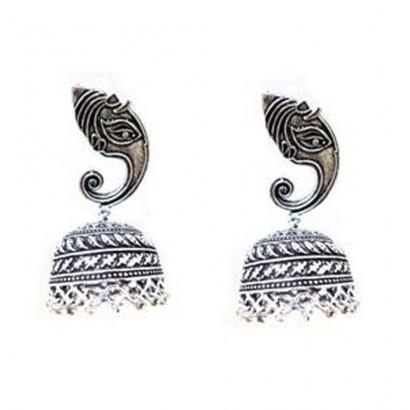 Ganeshji Style Silver Jhumka