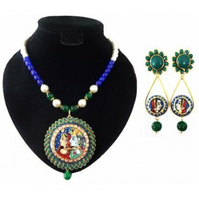 Green Tanjore art pachi necklace