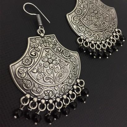 German Silver Black Beads loop earrings