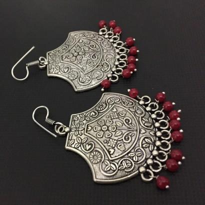 German Silver Red Beads loop earrings